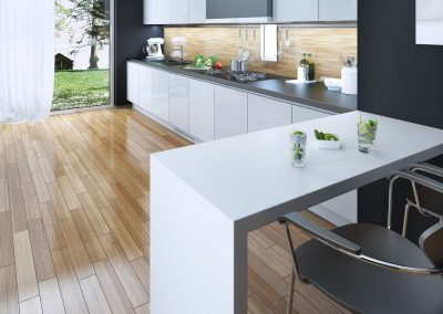 Cuisine moderne avec comptoire en quartz gris et blanc contemporain. Commandez en ligne maintenant sur granitcomptoir.com partout au Québec